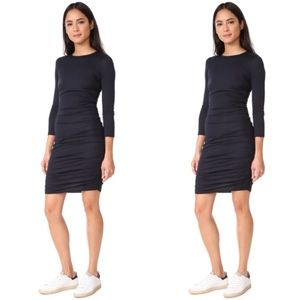 (THEORY) Ruched Long Sleeve Mini Dress